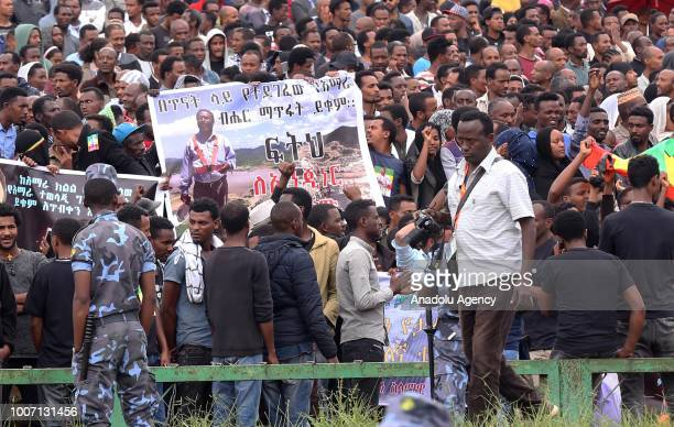 Hundreds of people attend the funeral of Engineer Simegnew Bekele the project manager for a hydroelectric dam since its construction began in 2011 at...