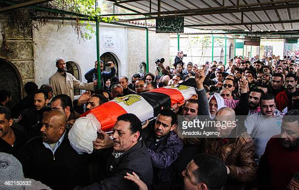 Hundreds of people attend the funeral of Socialist Popular Alliance Party activist Shaimaa alSabbagh shot to death during the protests held for the...