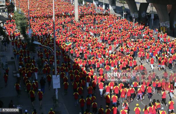 Hundreds of people attend the Great Ethiopian Run at Adwa Square in Addis Ababa Ethiopia on November 26 2017 Total of 44000 professional and amateur...