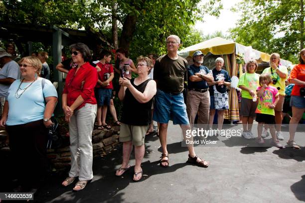 Hundreds of people attend the homecoming for highrope walker Nik Wallenda at Silver Dollar City Square on June 20 2012 in Branson Missouri On June 15...