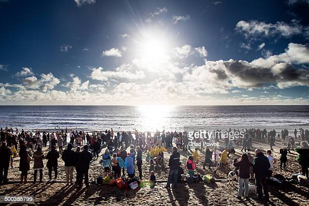 Hundreds of people congregating on Ventnor beach for the annual Boxing Day Swim.