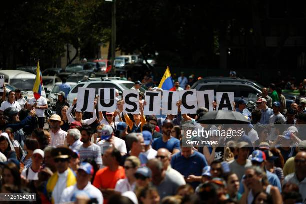 Hundreds of people demand justice as part of a demostration in support of Juan Guaido selfproclaimed interim President of Venezuela on January 26...