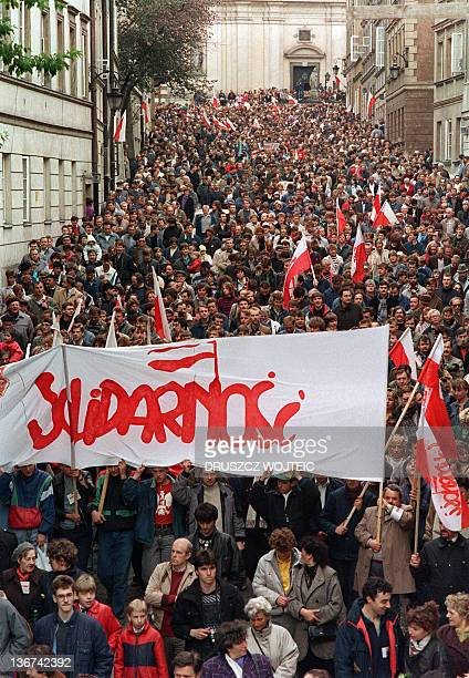 Hundreds of people demonstrate in the streets of Warsaw during a May Day rally organised by Trade Union Solidarity on May 01 1989