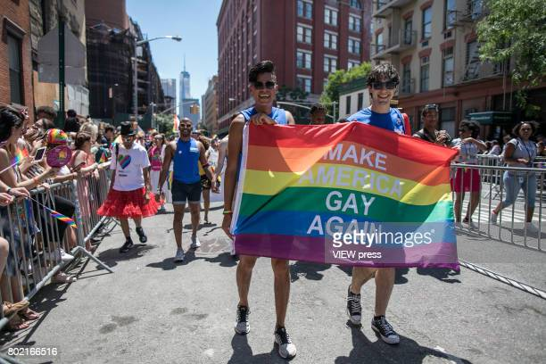 Hundreds of people fill the streets to celebrate the annual New York Gay Pride Parade along the West Village on June 25 2017 in New York City