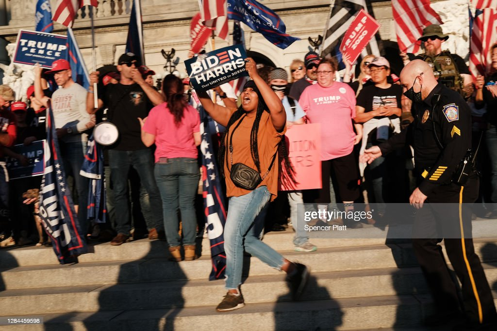 Trump Supporters And Biden Supporters Gather At Pennsylvania Capitol : News Photo