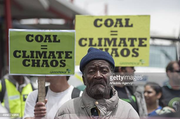 Hundreds of people from different climate justice movements gather in the Johannesburg South Africa on November 28 to protest against rising global...