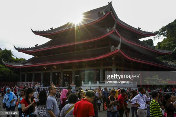Hundreds of people gather at a Lunar New Year celebration in the Sam Poo Kong temple in Semarang Central Java Indonesia on February 16 2018 The...