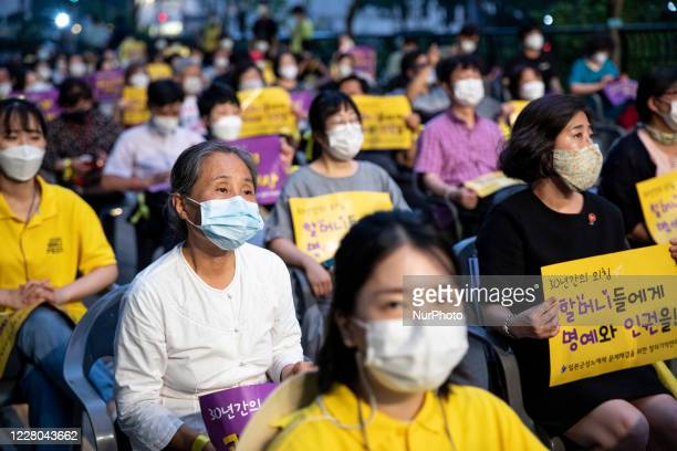 Hundreds of people gather for a rally to mark the International Memorial Day for Comfort Women on August 14, 2020 in Seoul, South Korea. In 2018,...