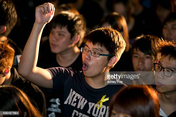 Hundreds of people gather in front of Liberty Square to show support for Hong Kong pro democracy rallies on October 1 2014 in Taipei Taiwan Thousands...