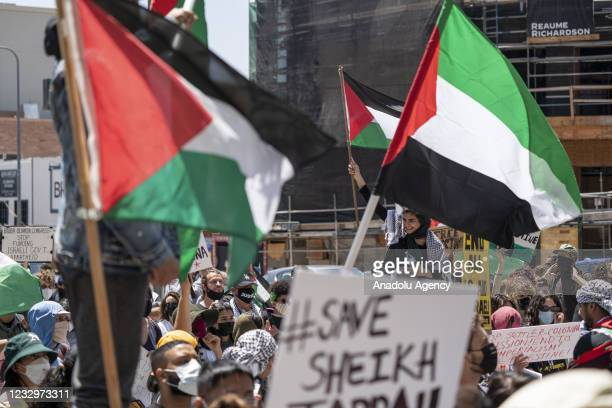 Hundreds of people gather in front of the Consulate General of Israel in Los Angeles, CA on May 18, 2021 to protest in solidarity with Palestinians...