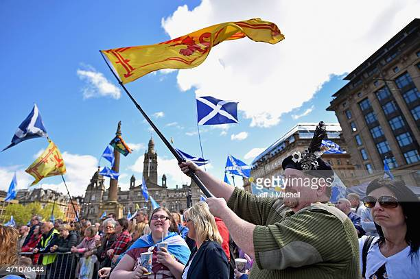 Hundreds of people gather in George Square in Glasgow for the Hope over Fear rally on April 25 2015 in Glasgow Scotland The proindependence rally...