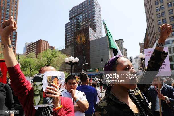 Hundreds of people gather in Union Square for May Day protests on May 1 2017 in New York City Across the country and world people are protesting...
