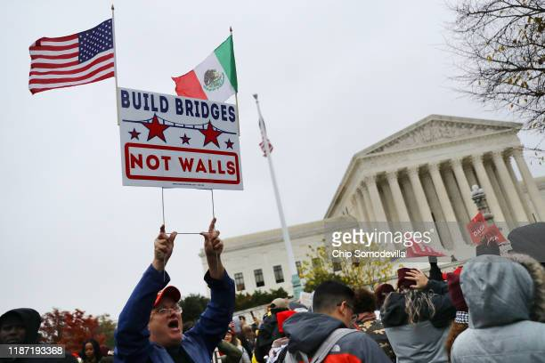 Hundreds of people gather outside the US Supreme Court to rally in support of the Deferred Action on Childhood Arrivals program as the court hears...