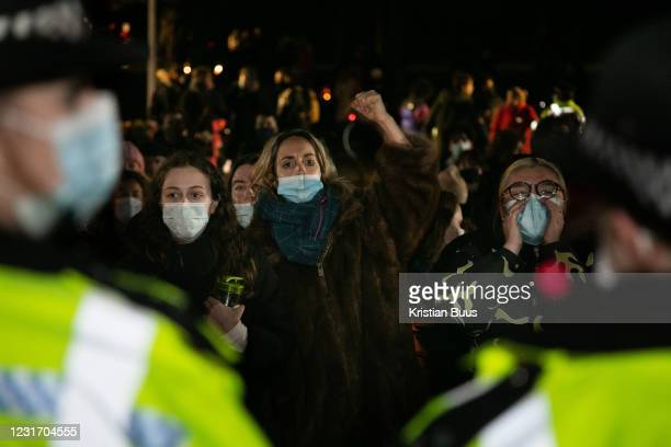 Hundreds of people gathered at a peaceful vigil for Sarah Everard on Clapham Common in South London on the 13th of March 2021, London, United...