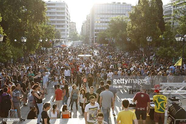 SQUARE ATHENS ATTICA GREECE Hundreds of people gathered in Athens Syntagma Square to protest for a legalization of cannabis going even as far as...