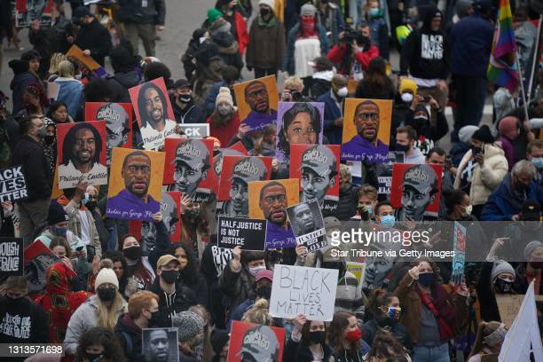 """Hundreds of people gathered in the street outside Hennepin County Gov""""u2019t. Center for a rally after the news of a guilty verdict in the trial of..."""