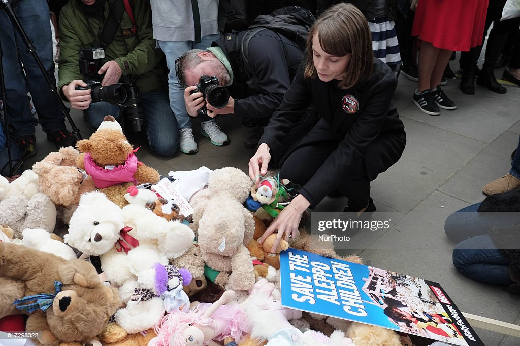 Hundreds of people gathered outside Downing street in London on 22 October 2016 to protest against the ongoing war in Syria and the thousands of child casualties. Children laid teddy bears outside Downing street, each one representing a Syrian child who has been killed since the recent ceasefire broke down.