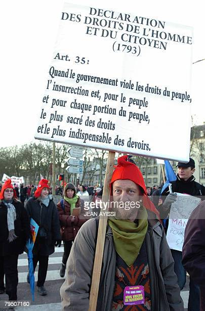 Hundreds of people including elected representatives of the French opposition demonstrate on February 4 2008 near Versailles castle west of Paris...