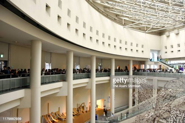 """Hundreds of people line up at the Aichi Arts Center to enter the drawing for the first showing of the resumed """"After 'Freedom of Expression?'""""..."""