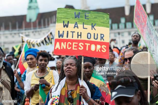 Hundreds of people of African descent took part in the Afrikan Emancipation Day Reparations March on August 01, 2017 in London, England. Participants...