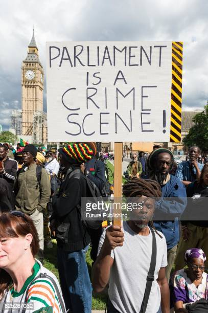 Hundreds of people of African descent took part in the Afrikan Emancipation Day Reparations March on August 01 2017 in London England Participants...