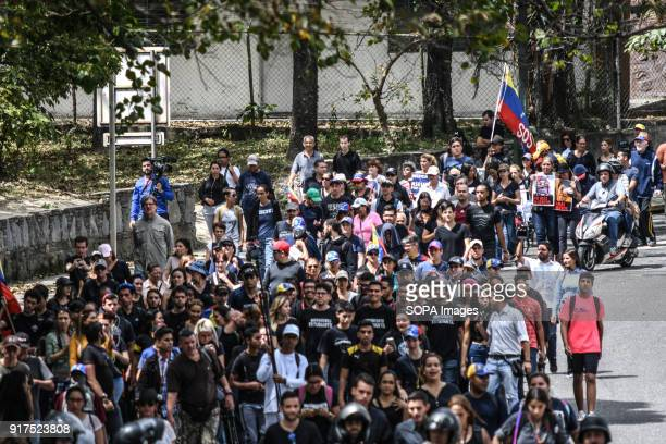 ESTE CARACAS MIRANDA VENEZUELA Hundreds of people seen marching to the cemetery Remembrance service held in Caracas in honor of those killed during...