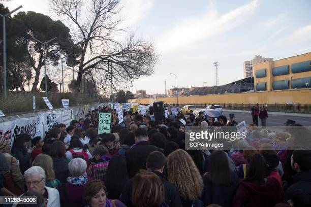 Hundreds of people seen protesting in front of the Detention Centre for Migrants of Aluche Feminist movement protest as a preparatory action for the...