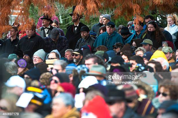 Hundreds of people some in period garb attend the 150th anniversary of the Gettysburg Address and Dedication Day Ceremony Tuesday November 19 2013 in...