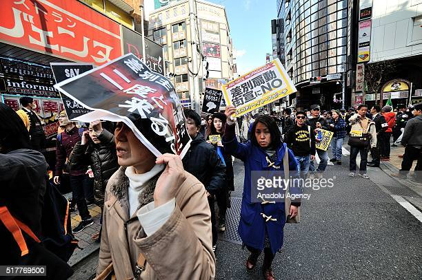 Hundreds of people stage a protest to express their opposition to a racist demonstration which was held at the Korean area in ShinOgikubo on March 27...