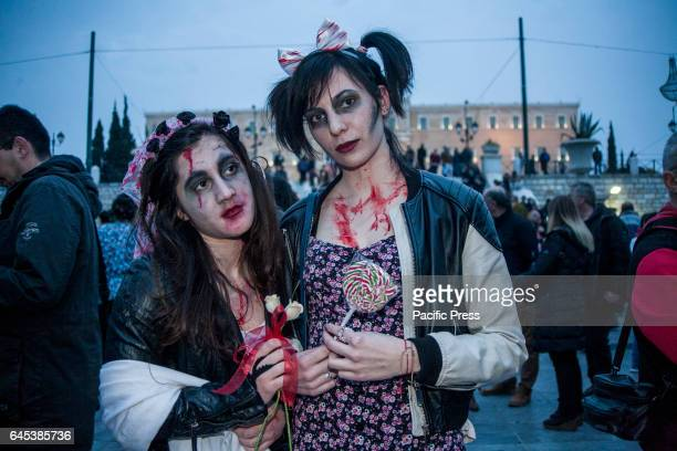 Hundreds of people take part in the Zombie Walk 2017 dressed as zombies while roaming the center of Athens