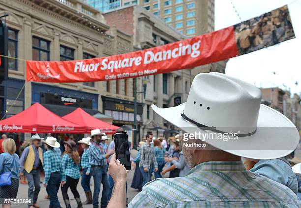 Hundreds of people take part of Fluor Square Dancing that takes place in Calgary downtpwn on a daily basis from 10am to Noon during the Calgary...