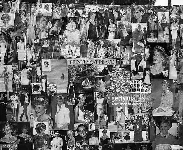 Hundreds of photographs of Diana Princess of Wales on the railings around Kensington Palace London October 2007 It is the 10th anniversary of her...