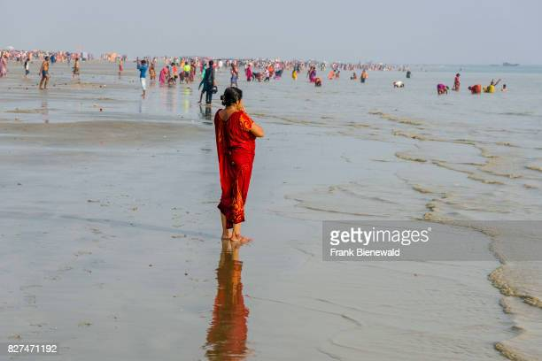 Hundreds of pilgrims are gathering on the beach of Ganga Sagar celebrating Maghi Purnima festival
