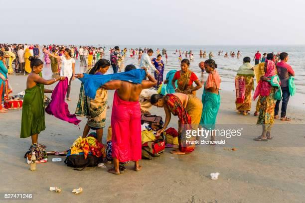 Hundreds of pilgrims are gathering on the beach of Ganga Sagar celebrating Maghi Purnima festival