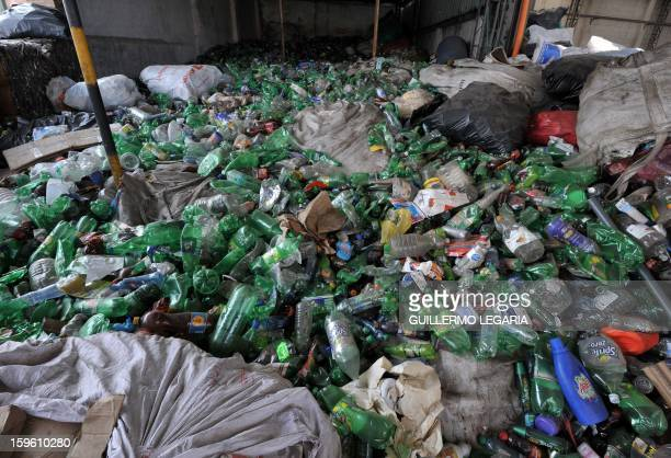 Hundreds of plastic bottles wait to be classified at La Alqueria Recycling Center in Bogota Colombia on January 17 2013 Some 60 recyclers classify 10...