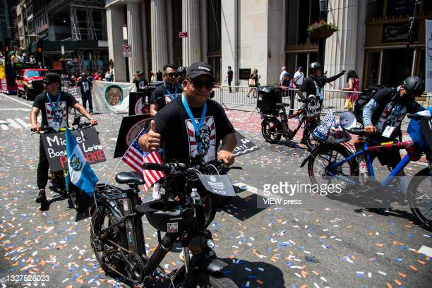 Hundreds of police, firefighters, hospitals and other frontline workers participate in a ticker tape parade to honor workers who helped in New York...