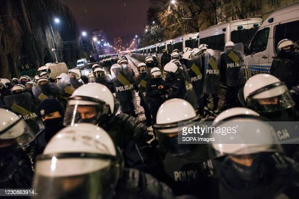 Hundreds of police officers are seen guarding the Jaroslaw Kaczynski's house the leader of the ruling party Law and Justice during the demonstration....