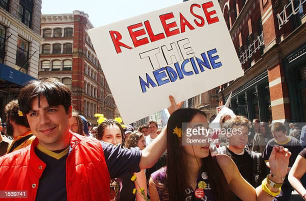 Hundreds of procannabis demonstrators march May 4 2002 in New York City The marchers who advocate for the legalization of cannabis were part of...