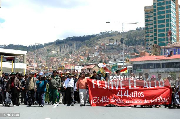 Hundreds of protesters from El Alto march on December 30 2010 along the streets of La Paz against the rise in the prices of petrol and food AFP...
