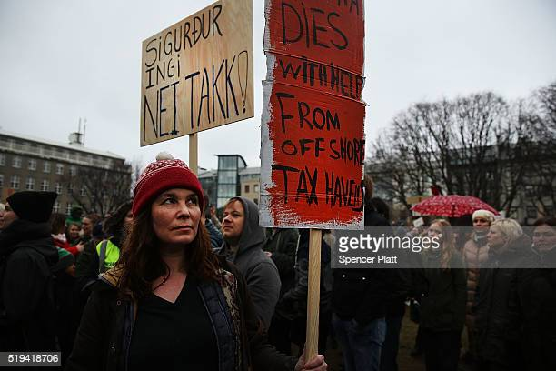 Hundreds of protesters gather in front of the Parliament building for a third day on April 6 2016 in Reykjavik Iceland Icelandic Prime Minister...