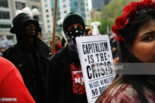 Hundreds of protesters gather in New York's Union Square on May Day on May 1, 2017 in New York, New York. Across the country and world people are...