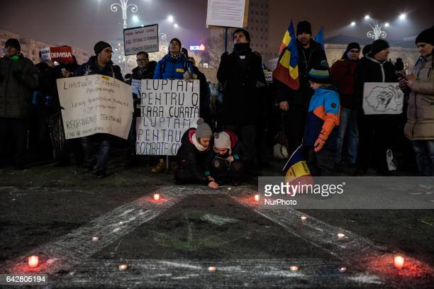 Hundreds of protesters gathered in front of government headquarters at the Victory square demanding the resignation of Prime Minister Sorin Grindeanu...