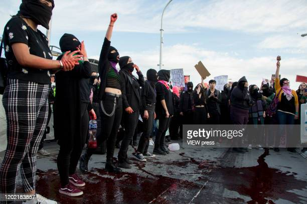 Hundreds of protesters participate in a protest to demand justice for the murder of Isabel Cabanillas in Ciudad Juarez a women's rights activist...