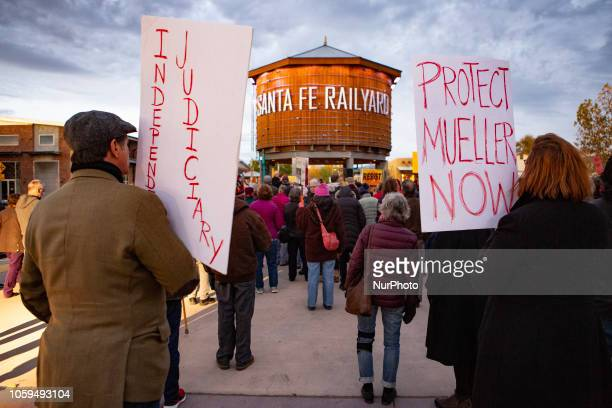 Hundreds of protesters rally in Santa Fe New Mexico United States on Thursday 8 November 2018 calling on American political leaders to protect...