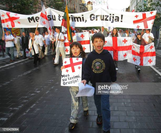 Hundreds of protesters took to the streets from the Vilnius Cathedral to Parliament Square here on August 13 2008 to support Georgia in the ongoing...