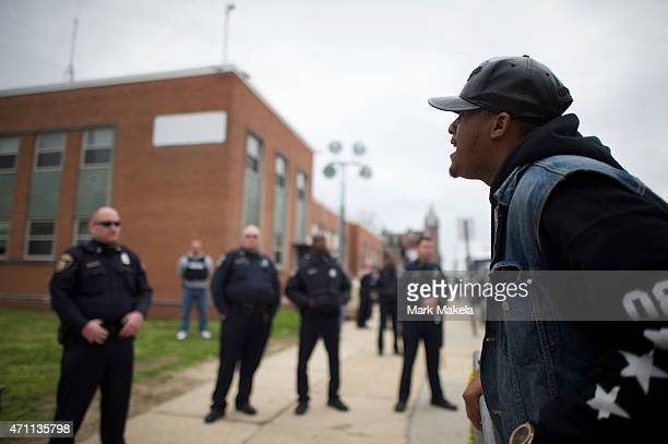 Hundreds of protestors gather in honor of Freddie Gray on April 25 2015 in Baltimore Maryland Gray was arrested for possessing a switch blade knife...