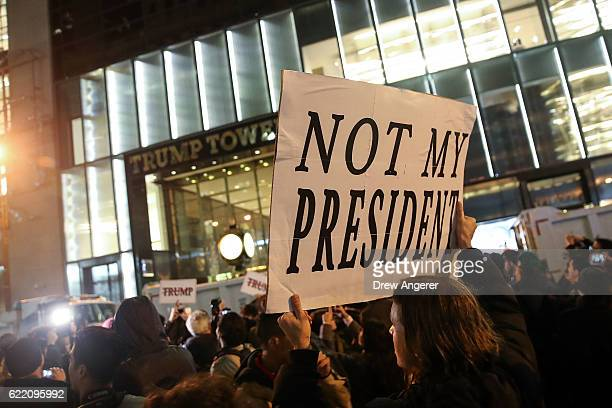 Hundreds of protestors rally against Donald Trump outside of Trump Tower November 9 2016 in New York City Republican candidate Donald Trump won the...