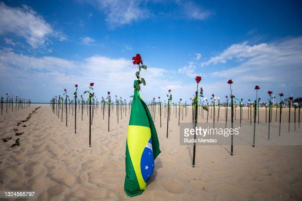 Hundreds of red roses were 'planted' during an event to pay homage to the over 500,000 registered victims of coronavirus and protest against the...