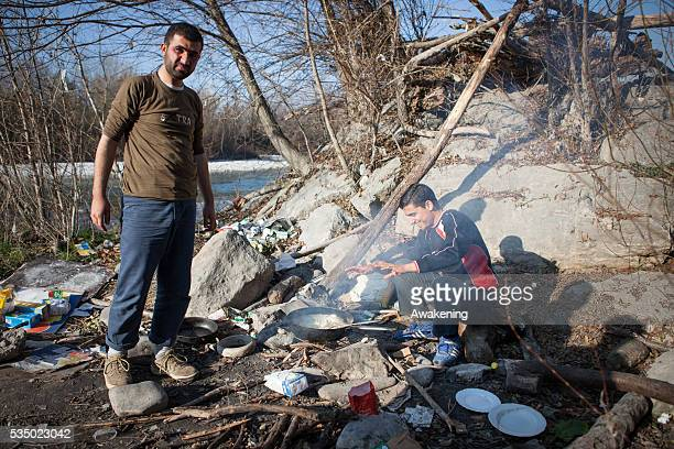 Hundreds of refugees find shelter in the woods alongside the river Isonzo in Gorizia northeast of Italy The area is known to the refugees as 'the...