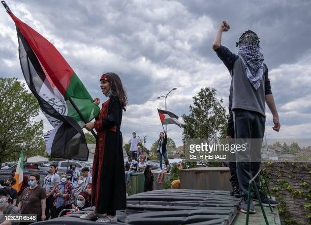 Hundreds of residents of Dearborn, Michigan gather on May 15, 2021 to protest the actions of the Israeli Army in Gaza as well as the forced removal...